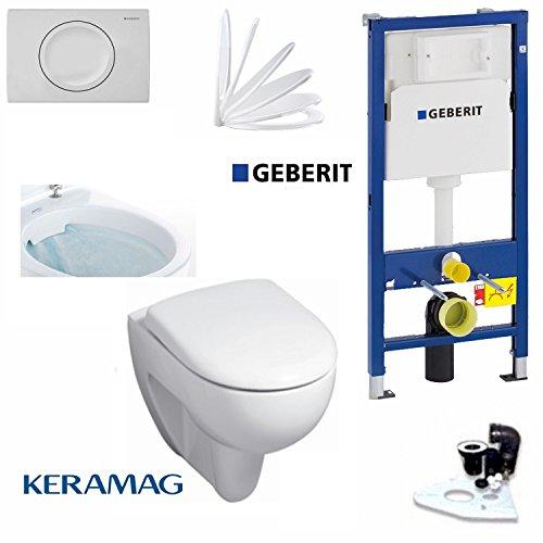 Geberit Duofix Vorwandelement mit Delta 11, Keramag Renova Nr. 1 rimfree, Spülrandlos, Tiefspül WC, inkl. Sitz und Beschichtung