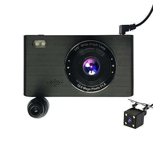 Grabador de conducción, pantalla táctil IPS de 4 pulgadas, grabación de video de alta definición de tres lentes dentro y fuera del automóvil inteligente, pantalla de gran angular de 170 grados, pantal