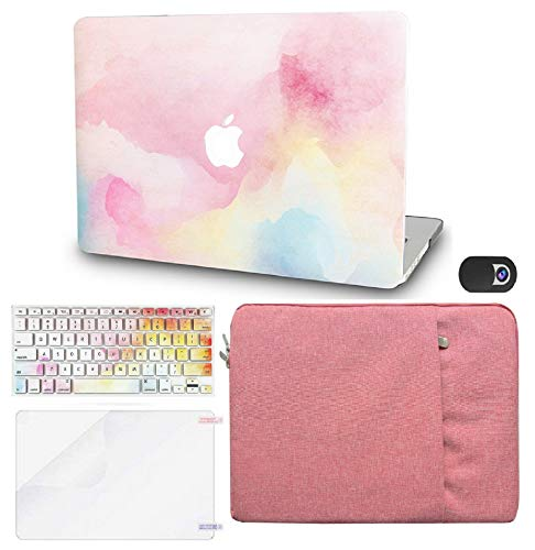 KECC Laptop Case for Old MacBook Pro 13' Retina (2015-) w/Keyboard Cover + Sleeve + Screen Protector + Webcam Cover (5 in 1 Bundle) Plastic Hard Shell Case A1502/A1425 (Rainbow Mist)
