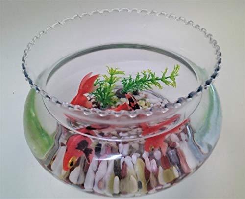 金魚鉢/金魚/出目金/可愛い金魚/癒し系/ガラス製金魚鉢(大)にエサのいらない金魚(出目金)セット/贈り物/プレゼント/うつわの翔山