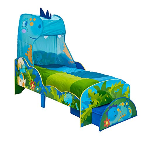 HelloHome 509DSR Dinosaur Toddler Bed With Storage And Canopy Multi, 143cm (L) x 77cm (W) x 138cm(H)