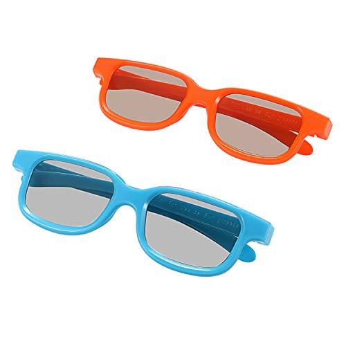 Aroncent 2 Paar 3D-Brille Polarisationsbrille RealD Universale Passive 3D-Kinderbrille (3-12Jahre Alt)