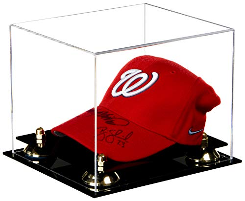 Better Display Cases Clear Acrylic Baseball Cap Display Case with Gold Risers (A006-GR)