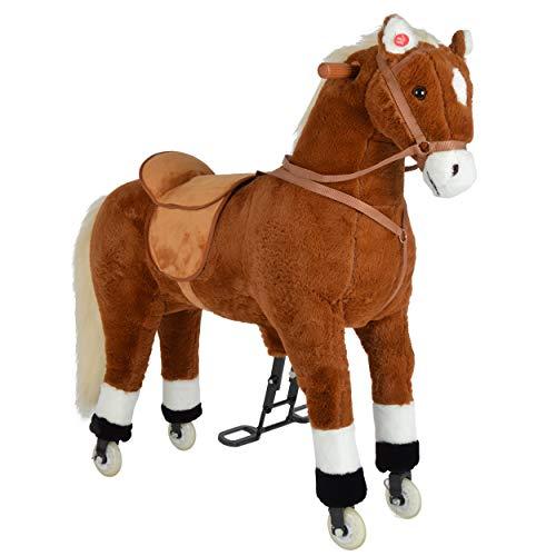 Pink Papaya XXL Reitpferd auf Rollen Amigo, 90cm Spielpferd, fahrendes Schaukelpferd bis 100kg belastbar, Spielzeug Plüsch Pferd zum Drauf sitzen mit Sounds
