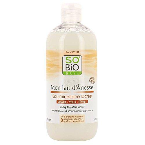 SO' BIO ETIC - Mon Lait d'Ânesse - Agua micelar - Con leche de burra - Dulzura - Hidratante y calmante - 99% natural - Limpieza perfecta - Nutritiva - 500 ml