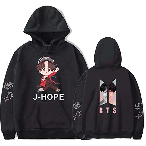 HUANHE BTS J-Hope Hoodie Boy Girls Idol Long Sleeve Sweatshirt Hip Hop Fashion Casual Loose Clothing XXS-4XL Blue