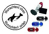 Taucherstempel « ORKA ORCA KILLERWAL » mit persönlichem Namen & Tauchspruch - Abdruckgröße ca....