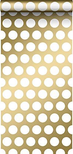 behang grote stippen glanzend goud en wit - 139116 - van ESTAhome