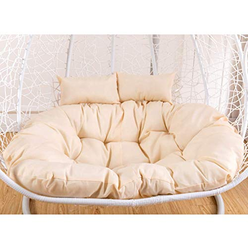 LYHY Swing Chair Cushion, rden Hanging Egg Rattan Chair Hamac Pad 2 People Seats Zipper Washable Outdoor No Foot-130x90cm White