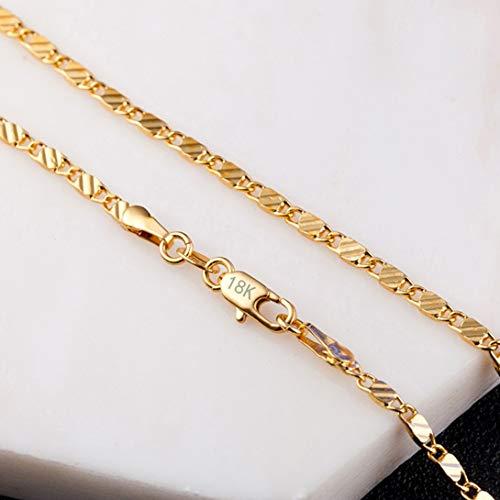 Swiftswan Goldfarbe Flache Kette Halskette Für Frauen Männer Schmuck Halsketten 8 Größe 16/18/20/22/24/26/28/30 Zoll Schmuck Collares