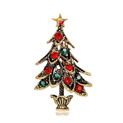 Rchhy Stylish Brooches Christmas Jewelry Xmas Tree Deer Snowman Brooch Party Brooch Pin-Style 18-