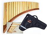 Plaschke Instruments - Flauta de pan de bambú con 24 tubos de sonido (en do mayor, incluye funda y libro de aprendizaje, hecho a mano por el Tirol del Sur e Italia)
