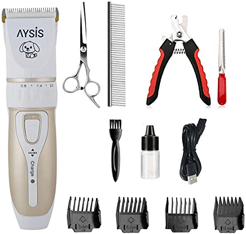AYSIS Professional Automatic Rechargeable Pet Hair Trimmer with USB Charger for Dogs