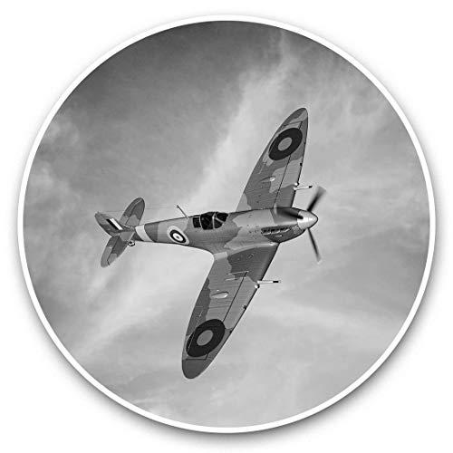 Impresionantes pegatinas de vinilo (juego de 2) 25 cm bw – British RAF Spitfire Vintage Plane Divertidos calcomanías para portátiles, tabletas, equipaje, reserva de chatarras, neveras, regalo genial #37227