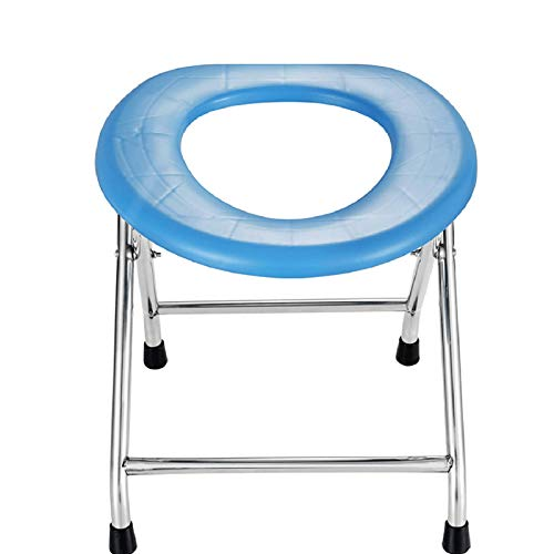 Massage-AED Folding Toilet Seat Commode for Elderly and Handicapped Porta Potty and Commode Chair,Bedside Commode Chairfor Camping, Hiking, Trips, Construction Sites