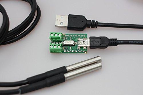Temperatur Sensor Interface für DS18B20 + 2 x Temperatursensor DS18B20 wasserdicht mit 1m Kabel, Edelstahlhülse und USB-Kabel