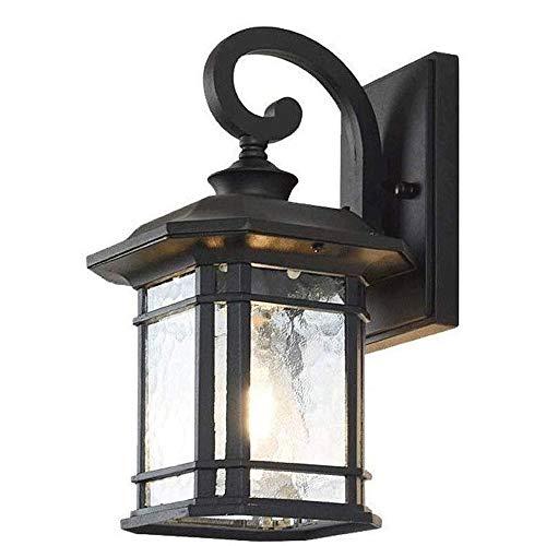 Outdoor wandkandelaar lichtpunt, 1-Light Wall Mounted Buitenverlichting Lantaarn, Hoogte 32CM House Lights, mat zwarte afwerking