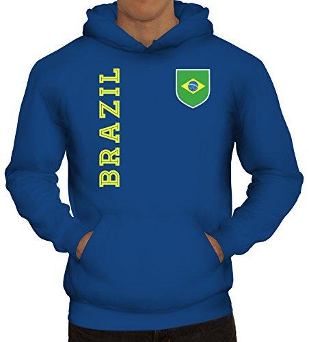 Brasil Brasilien Fußball WM Fanshirt Gruppen Herren Hoodie Männer Kapuzenpullover Fan Trikot Brazil, Größe: 3XL,Royal Blau