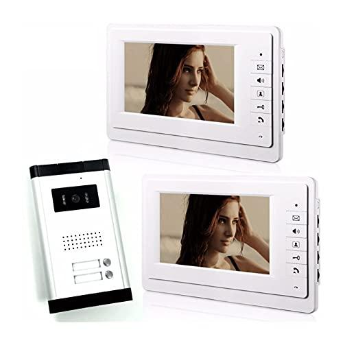 DNAMAZ Portero 7'Apartamento con Cable Video Interphone Audio Intercom Puerta de Video Bell Video Intercom System para 2 Unidades Habitaciones automatico (Color : V70F5201V2)