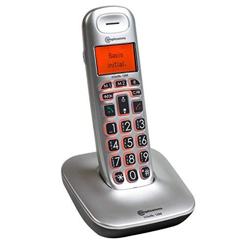 Amplicomms BigTel 1200 - Telefono a pulsante grande per anziani - Telefoni forti per apparecchi acustici - Telefoni compatibili con apparecchi acustici - Numero senza fili