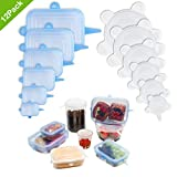 Silicone Stretch Lids Reusable, Godmorn 12 pack Round + Rectangle, Food Storage Silicone Lids Cover for Container Bowl Cup Pot Pan Dish Can,Freezer Microwave and Dishwasher Safe, Keep Fresh