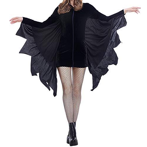 YAOTT Disfraz De Murciélago Halloween Vampiro Cosplay Costume para Mujer Negro M
