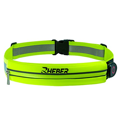 RHEBER LED Reflective Running Belt Pouch with USB Rechargeable Light Waist Pack Bag for Key, iPhone X 7 8 11 12 Cell Phone Holder - Best Visibility During Walking and Cycling (Green)