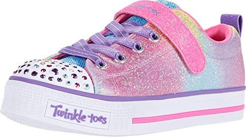 Skechers Kids Girl's Twinkle LITE Sneaker, Hot Pink/Multi, 12 Medium US Little Kid