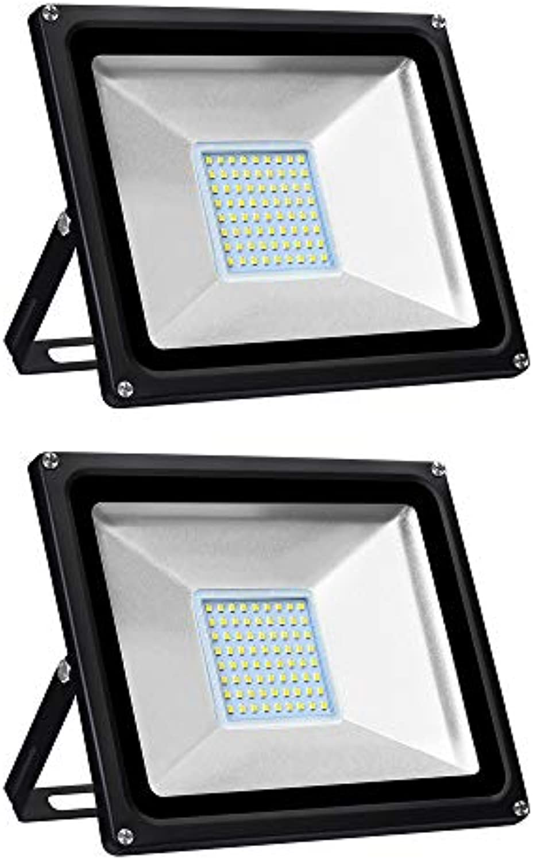 2 Stück Warmwei LED Strahler, 50W 5000LM LED Fluter Aussen 3000K LED Wandstrahler Lampe Auenstrahler Aluminium LED Flutlicht 220V Wasserdicht IP65