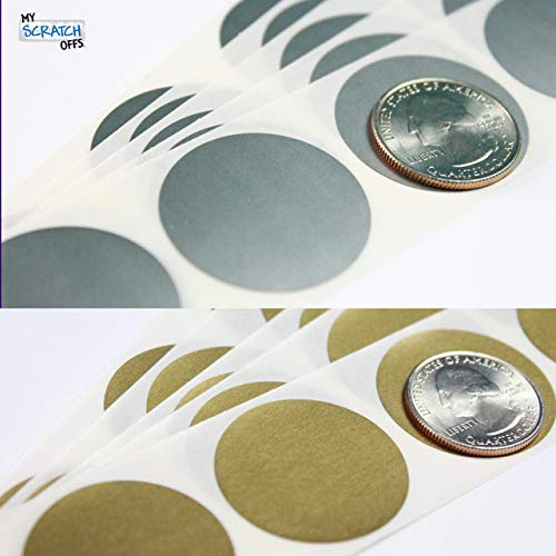 """Silver & Gold 1.25"""" Round Circle Scratch Off Stickers Labels for DIY Cards Games (100 ea) My Scratch Offs"""