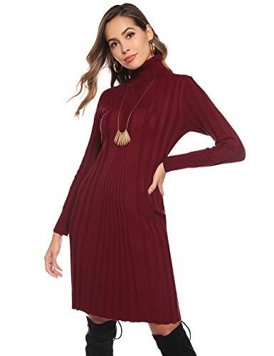 Abollria Vestito Maglione Donna Invernale Casual Vestito Collo Alto Aderente Abito Basic in Maglia con Manica Lunga, Rosso Vino, XL