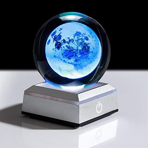ZZLLFF Bola de Cristal de Luna 3D LED de Cristal Grabado Globo de Cristal Decoración del hogar Cristal Craft ARTHHERA Adorno 8cm (Color : Ball and Square silv)