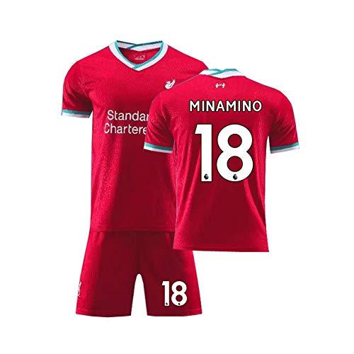 LCHENX-Conjunto de Camiseta de Fútbol Liverpool para Niños y Hombres,Takumi Minamino # 18 Camiseta y Pantalón Corto para Aficionados Al Fútbol,Rojo,M