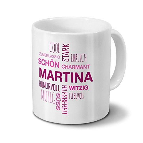 printplanet Tasse mit Namen Martina Positive Eigenschaften Tagcloud - Pink - Namenstasse, Kaffeebecher, Mug, Becher, Kaffeetasse