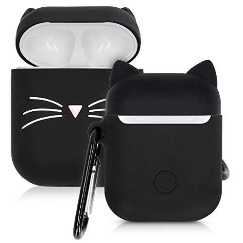 kwmobile Hülle kompatibel mit Apple AirPods Kopfhörer - Silikon Schutzhülle Case Cover Katze Schwarz Weiß