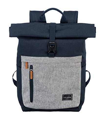 travelite Handgepäck Rucksack mit Laptop Fach 15,6 Zoll, Gepäck Serie BASICS Daypack Rollup: Praktischer Rucksack mit Rollup Funktion, 096310-20, 60 cm, 35 Liter, marine/grau