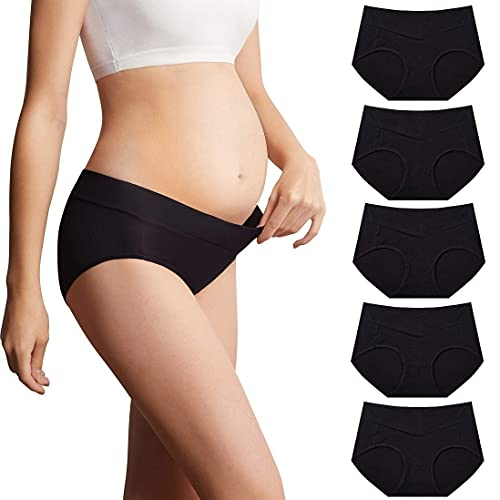Mama Cotton Women s Under The Bump Maternity Underwear Classic Cross Styles Maternity Panties ( Color-Multicolor-C 5 Pack, Size-M )