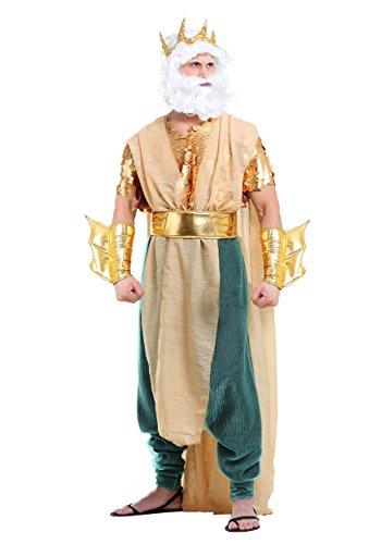 Disfraz griego del dios del mar para hombre, talla grande, talla 4X, color dorado