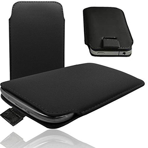 MOELECTRONIX MX SCHWARZ Slim Cover Hülle Schutz Hülle Pull UP Etui Smartphone Tasche passend für HiSense HS-G610M