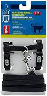 Catit Nylon Adjustable Cat Harness and Leash Set, Large, Black