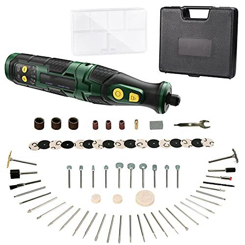 Multifunktionswerkzeug, 7.2V Mini Werkzeug mit Li-Ionen-Akku inkl 68 Zubehöre, Ladegerät und Werkzeugkoffer, Drehwerkzeug hat variable Drehzahleinstellung zum Schleifen, Polieren, Gravieren - DCDM01