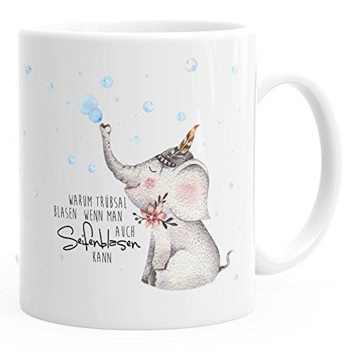 MoonWorks süße Kaffee-Tasse Elefant Warum Trübsal Blasen wenn Man auch seifenblasen kann Spruch Motivation positives Denken fröhlich weiß Unisize