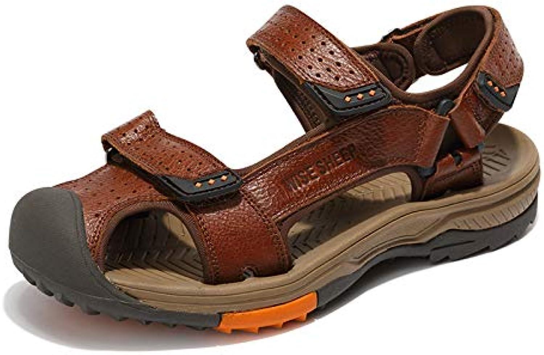 Jincosua Männer Geschlossene Zehe echtes Leder Breathable beiläufige Nicht Beleg-Haken-Schleifen-Sandelholze Beleg-Haken-Schleifen-Sandelholze Beleg-Haken-Schleifen-Sandelholze (Farbe   Braun, Größe   EU 42)  e25256