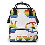 Mochila de Pañales para Cambiar Pañales Iconos Rainbow Peace, Gran Capacidad...