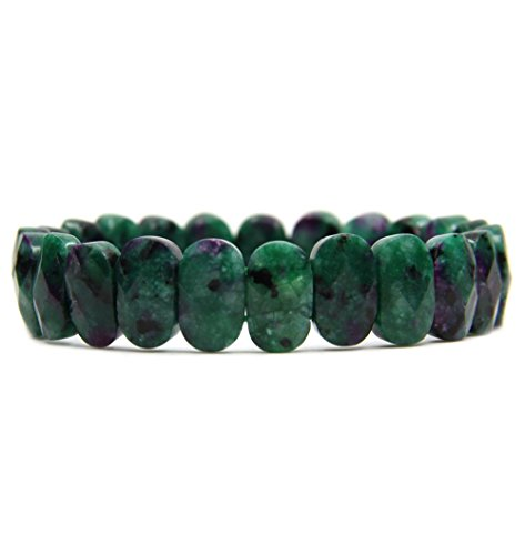 Amandastone Ruby in Zoisite Gemstone 14mm Faceted Oval Beads Stretch Bracelet 7' Unisex