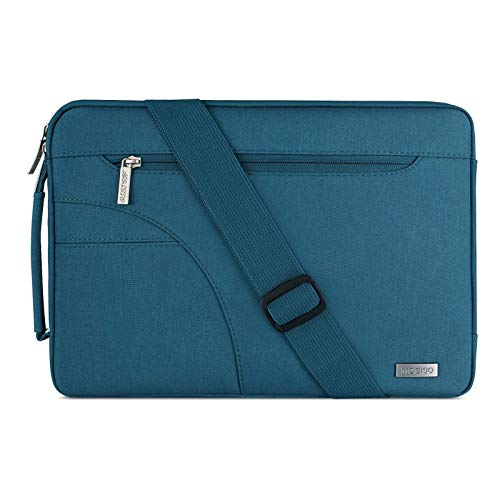 MOSISO Laptop Shoulder Bag Compatible with MacBook Pro 16 inch A2141, Compatible with MacBook Pro Retina A1398, 15-15.6 inch Notebook, Polyester Briefcase Sleeve with Side Handle, Deep Teal