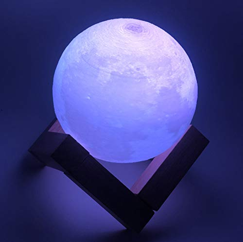 Mondlampe, 3D Moon Lamp and Night Light, Touch-Steuerung, einstellbare Helligkeit, USB-Aufladung, nahtlose Mondmondlampe mit Ständer für Schlafzimmer, 8 cm