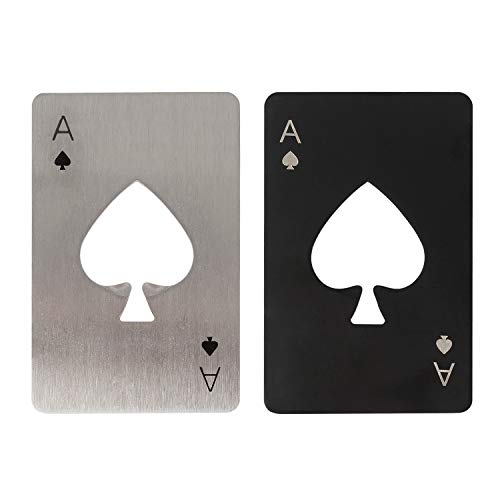 Tomedeks Set 2 Pezzi di apribottiglie Poker, apribottiglie Creativo Carte da Gioco in Acciaio Inossidabile, apribottiglie Birra Divertente Personalizzato, Dimensioni Adatte al Tuo Portafoglio (Nero e