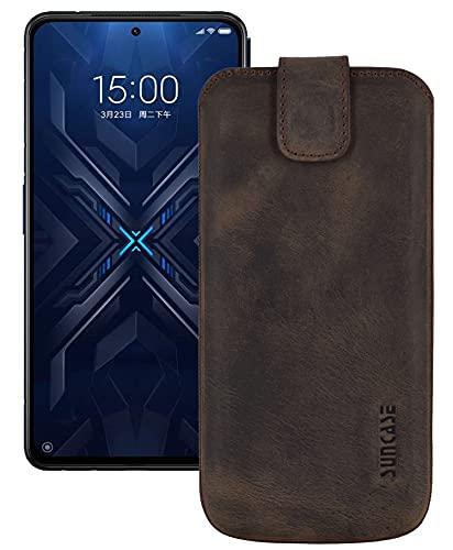 Suncase ECHT Ledertasche Leder Etui *Slim-Edition* kompatibel mit Xiaomi Black Shark 4 (5G) Hülle (mit Rückzugsfunktion & Magnetverschluss) in antik-dunkel braun