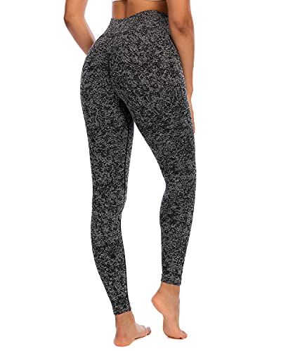 RUNNING GIRL Camo Butt Lift Leggings for Women, Seamless Ruched High Waisted Yoga Pants Tummy Control Gym Workout Tights (CK2618_Black_M)